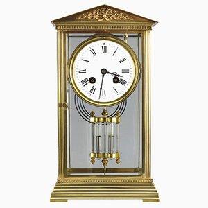 Reloj de repisa francés antiguo de vidrio y latón de Couaillet Freres, década de 1890