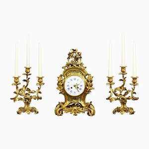 Antique French Gilt Bronze Striking Mantel Clock and Garniture Set by Vincenti & Cie, 1860s