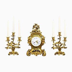 Set avec Horloge de Cheminée Antique en Bronze Doré par Vincenti & Cie, France, 1860s