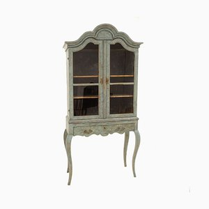 19th-Century Rococo Style Swedish Blue Glass & Wood Cabinet, 1860s