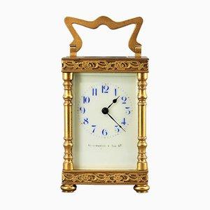 Reloj de carruaje antiguo dorado de Duverdrey & Bloquel, años 10
