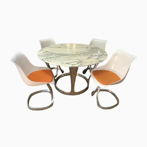 Model Calacata Dining Table and 4 Chairs by Michel Charron, 1970s