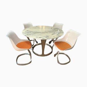 Table et 4 Chaises de Salle à Manger Modèle Calacata par Michel Charron, 1970s