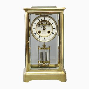 French Glass & Brass Mantle Clock by Hry Marc, 1870s