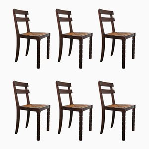 Modernist French Oak & Rush Chairs by Charles Dudouyt, 1940s, Set of 6