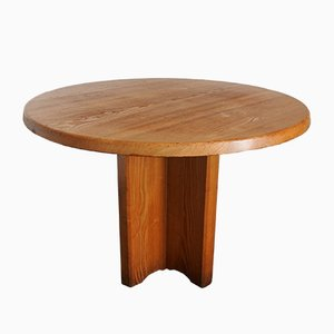 Round French Solid Ash Dining Table, 1970s