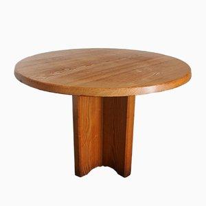 Tavolo da pranzo rotondo in legno di frassino massiccio, Francia, anni '70
