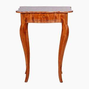 Tavolo antico intarsiato in legno di ciliegio