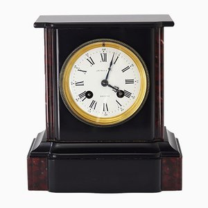 Victorian Black Slate and Marble Mantle Clock by Brocot, 1870s