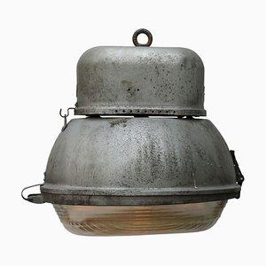 Vintage Industrial Grey Aluminium Oval Holophane Glass Street Light, 1950s
