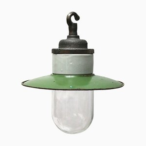 Vintage Industrial Green Enamel, Cast Iron & Porcelain Glass Pendant Light, 1950s