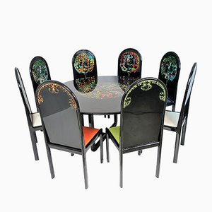 The Four Seasons Table & 8 Chairs Set by Bjorn Wiinblad for Rosenthal, 1970s