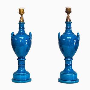 Tischlampen mit Eisblumenlackierung in Blau in Urnen-Form von Pol Chambost, 1970er, 2er Set