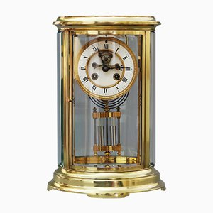 Oval Four Glass Mantle Clock with Visible Escapement by Samuel Marti et Cie, 1890s