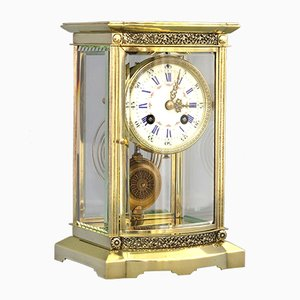 19th-Century French Brass Bow Glass Mantle Clock by A&H, 1880s