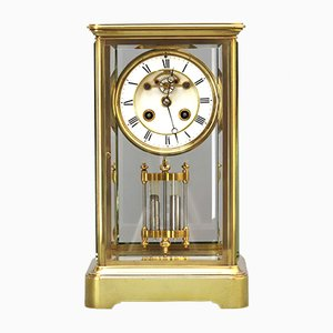 Four Glass Mantle Clock with Visible Escapement by Samuel Marti et Cie, 1880s