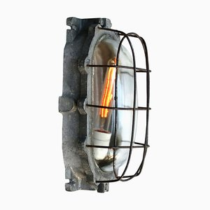 Vintage Industrial Grey Cast, Aluminium & Clear Glass Wall Lamp, 1950s