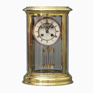 Horloge de Cheminée en Verre par S Marti Signed J Neill & Co, 1870s