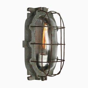 Industrielle Vintage Wandlampe aus Gusseisen, Aluminium & Klarglas, 1950er