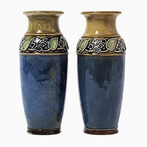 Art Nouveau Style Stoneware Vases by Maud Bowden for Royal Doulton, 1920s, Set of 2