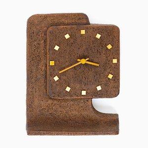 Horloge de Table Brutaliste en Céramique Marron, 1970s