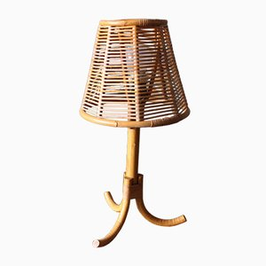 French Rattan Table Lamp, 1950s