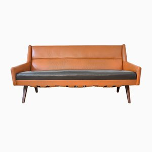 Sofá danés de cuero de Torsten Johanson, años 60