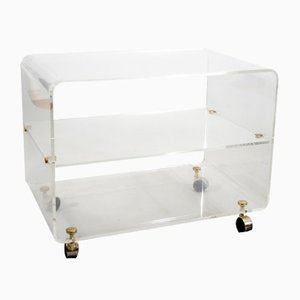 Vintage French Plexiglass Cart by David Lange for David Lange, 1970s
