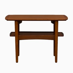 Danish Teak Side Table with Pull-Out Tray, 1960s