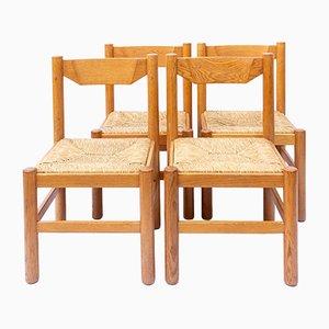 Chaises de Salle à Manger Carimate en Chêne Naturel par Vico Magistretti pour Cassina, 1960s, Set de 4