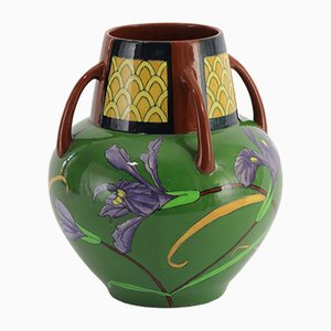 Antique Art Nouveau Intarsio Four-Handled Vase by Frederick Rhead for Charles Wileman Foley, 1890s