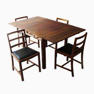 Vintage Esstisch mit Stühlen aus Eiche, 1920er
