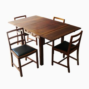Vintage Oak Dining Table Set with Chairs, 1920s