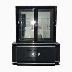Art Deco Black High Gloss Vitrine Cabinet, 1920s