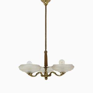 Lámpara de araña Art Déco grande, años 30