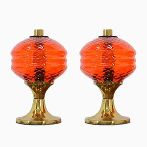 Glass Table Lamps, 1960s, Set of 2