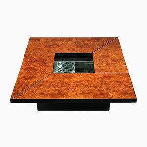 Mesa de centro de madera nudosa y mueble bar de Paul Michel, años 70