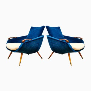 Vintage Danish Velvet Armchairs, 1950s, Set of 2