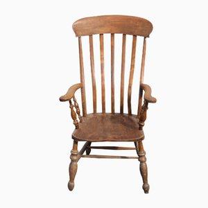Ash Slat Back Carver Armchair, 1920s