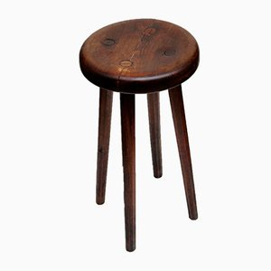 Polish Handmade Oak Stool, 1940s