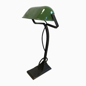 Vintage Green Enamel Bank Lamp, 1930s