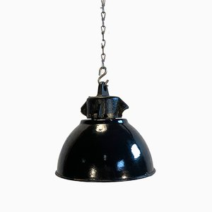 Petite Lampe à Suspension Industrielle en Émail Noir, 1950s