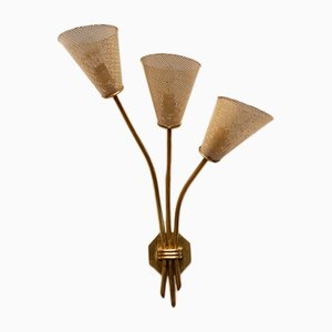 French 3-Stem Wall Sconce from Kobis & Laurence, 1950s