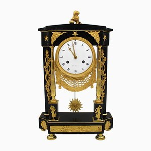 18th-Century French Gilt Bronze & Marble Pendulum Clock