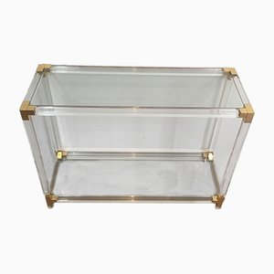 French Lucite Console Table with Gold Gilt Corners, 1970s