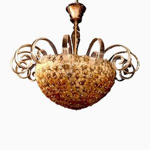 Lampada da soffitto in vetro di Murano con fiori, anni '80