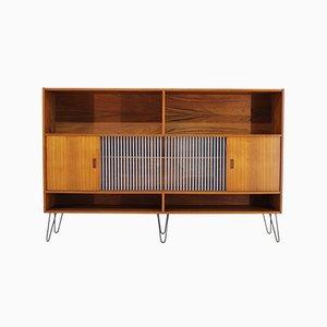 Dänisches Mid-Century Bücherregal aus Teak & Glas, 1960er