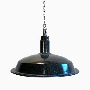 Vintage Industrial Dark Grey Enamel Hanging Light, 1930s