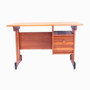 Vintage Italian Wooden Desk with 3 Drawers, 1950s