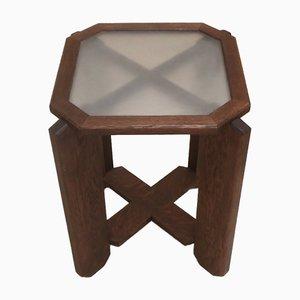 Mesa vintage cuadrada oscura con pedestal